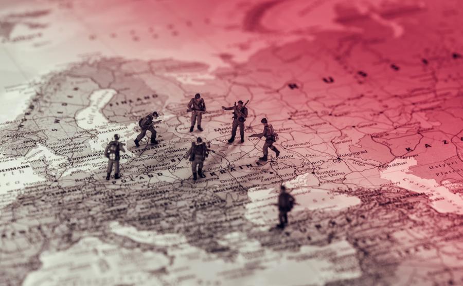 Żołnierzyki na mapie Polski, Ukrainy, Rosji i okolicznych krajów