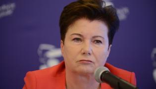 Prezydent Warszawy Hanna Gronkiewicz-Waltz podczas konferencji prasowej nt. pomocy lokatorom