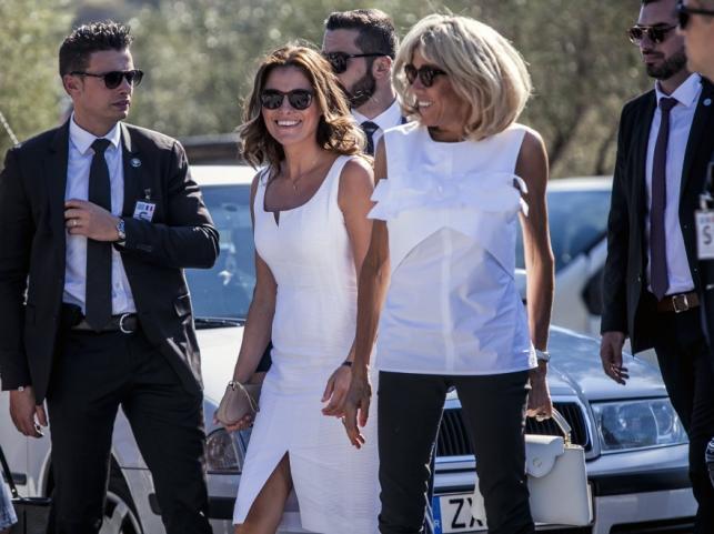 Alexis Tsipras (partnerka premiera Grecji) i Brigitte Macron