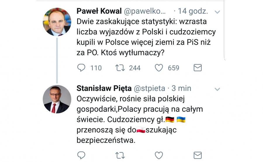 Twitterowa rozmowa mędzy posłem Piętą a Pawłem Kowalem
