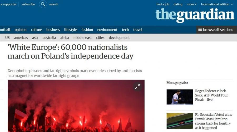 """""""Guardian"""" o Marszu Niepodległości"""