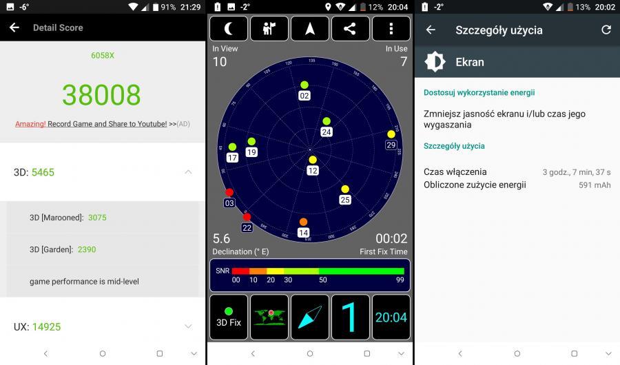 AnTuTu Benchmark, GPS, czas pracy na baterii