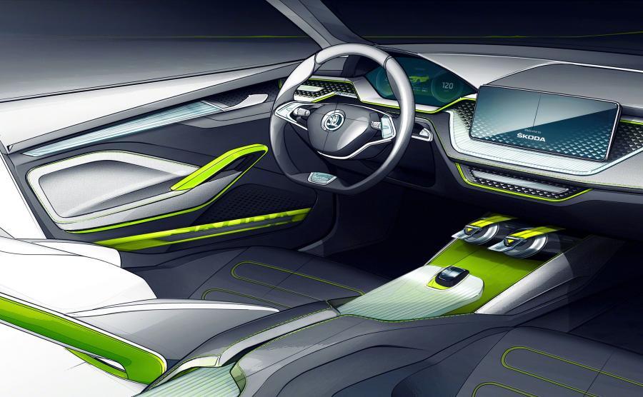 Skoda Vision X - styl wnętrza przypomina nowe modele... Audi?