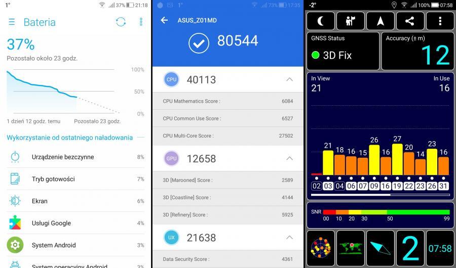 Bateria, AnTuTu Benchmark, GPS