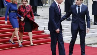 Brigitte Macron i księżna Maria Teresa oraz Emmanel Macron i wielki książę Henryk
