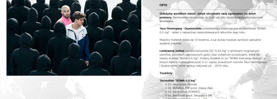 Zrut ekranu - strona zamówienia płyty Taconafide