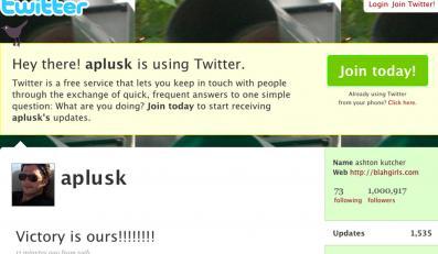 Ashton Kutcher ma milion fanów na Twitterze