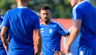 Nowy piłkarz Lecha Poznań Dioni Villalba (C) podczas treningu