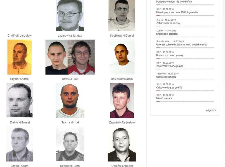 Oto najgroźniejsi przestępcy w Polsce
