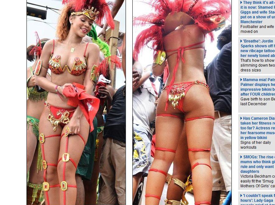 Rihanna dziką królową karnawału. Fot. www.dailymail.co.uk