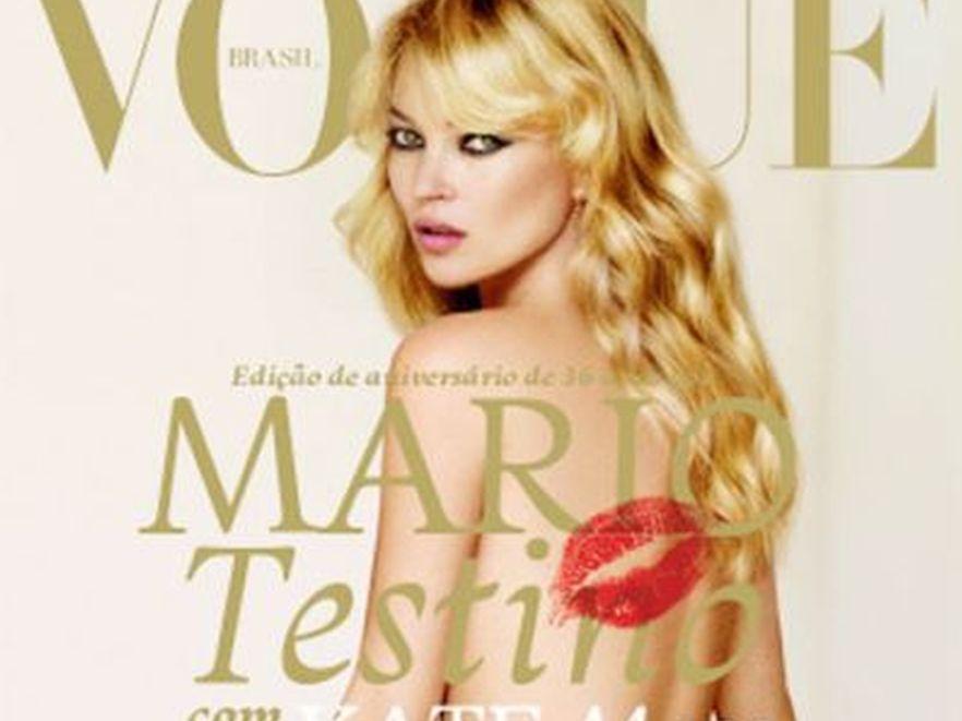 """Kate Moss nago na okładce brazylijskiej edycji """"Vogue"""". Fot. Mario Testino"""