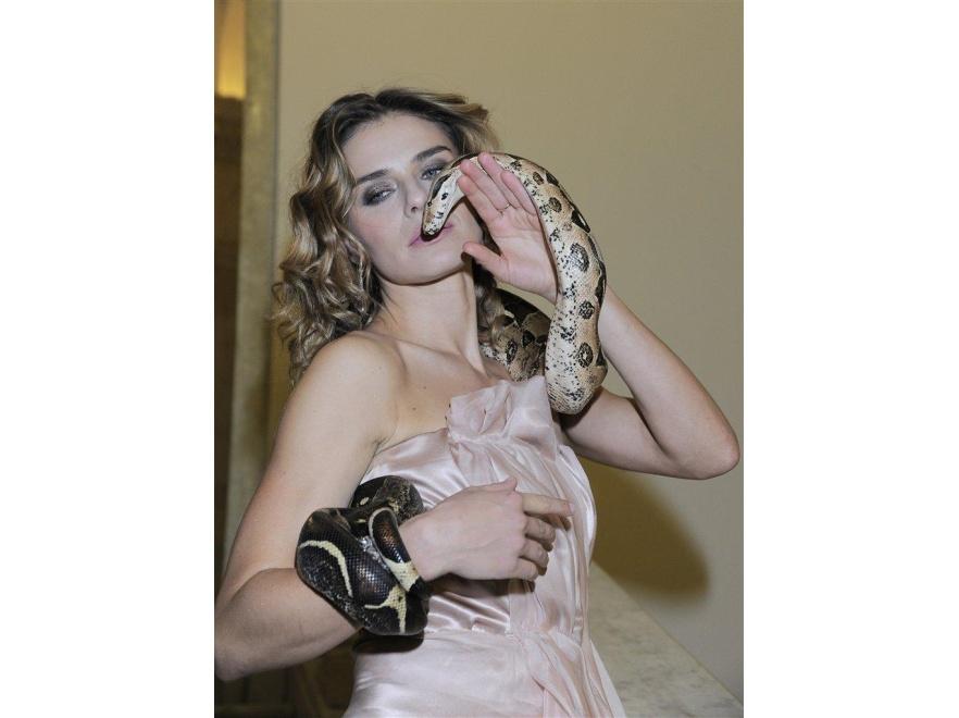 Natasza Urbańska czuła się bardzo swobodnie z wielkim wężem.