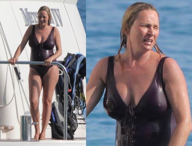 Ciężarna Uma Thurman w kostiumie kąpielowym