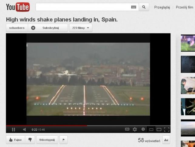 Lądowanie samolotu w Bilbao