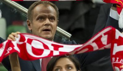 Donald Tusk na meczu