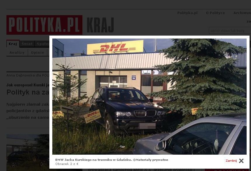 BMW Jacka Kurskiego na trawniku w Gdańsku/foto czytelnik \