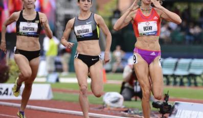 Jenny Simpson; Shannon Rowbury i Morgan Uceny (od lewej)