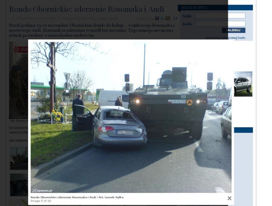 Zderzenia audi i rosomaka/foto www.epoznan.pl
