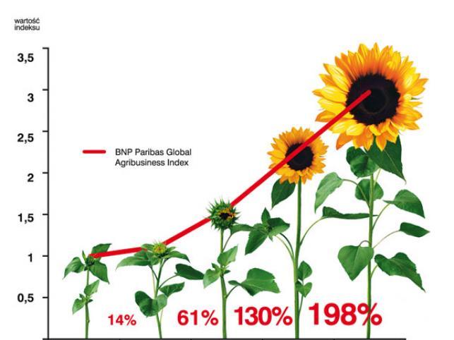 Charakterystyka wzrostu indeksu BNP Paribas Agribusiness