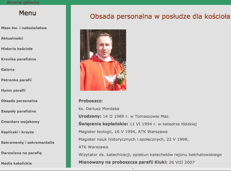 Ksiądz Dariusz Mordaka (fot. www.parafiakluki.pl)