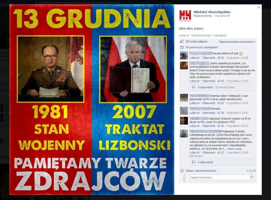 Wojciech Jaruzelski i Jarosław Kaczyński - zdjęcie z profilu Młodzieży Wszechopolskiej na FB (źródło: facebook.com/Wszechpolacy)
