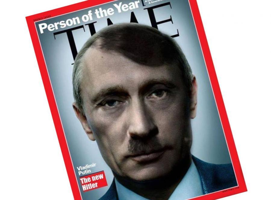 Władimir Putin jako Adolf Hitler. W internecie krąży przeróbka okładki tygodnika \