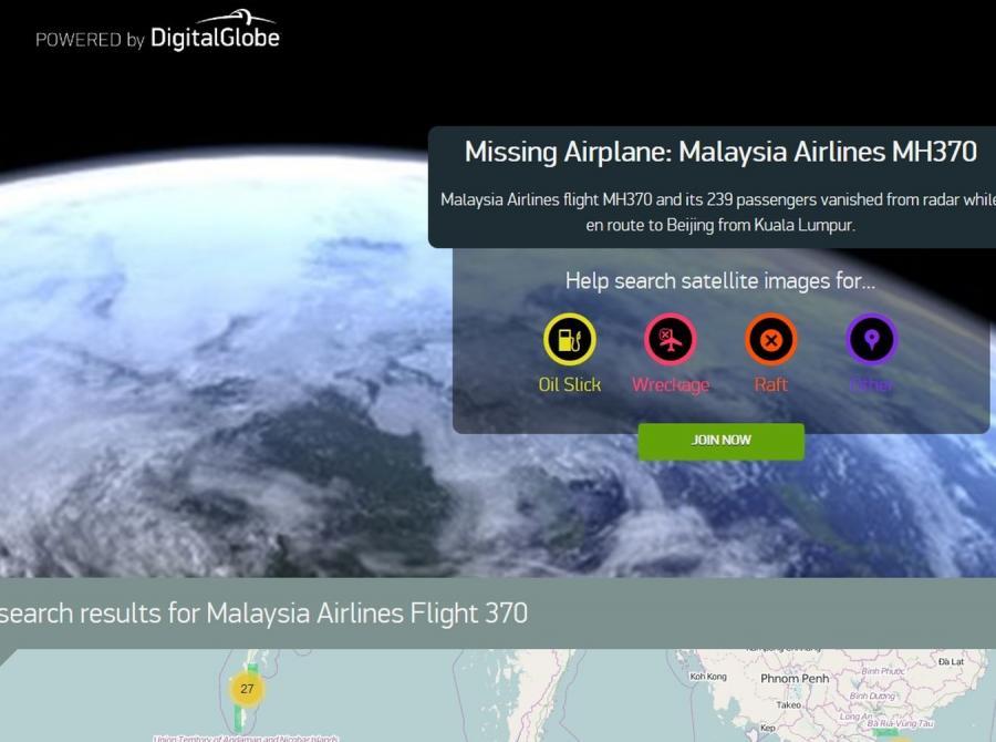 Mapy satelitarne - poszukiwanie zaginionego boeinga
