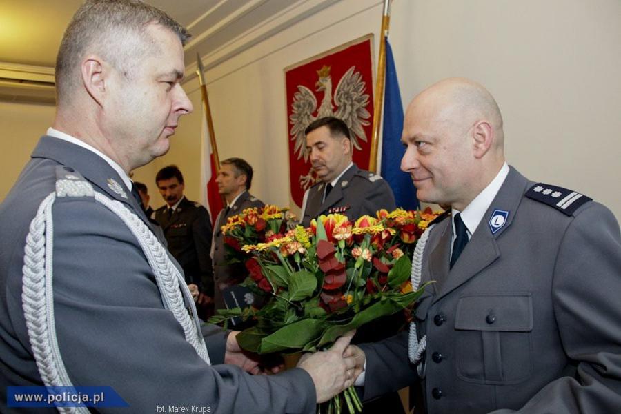 Komendant główny policji nadinsp. Marek Działoszyński i insp. Arkadiusz Letkiewicz, były wiceszef policji