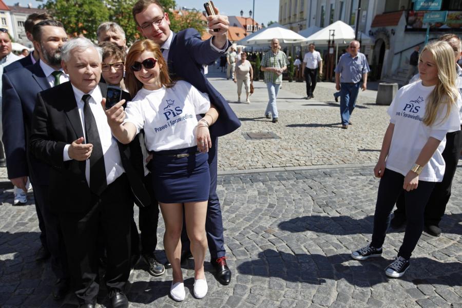 Prezes PiS Jarosław Kaczyński na Rynku Kościuszki w Białymstoku