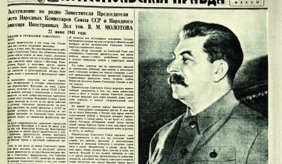 """Józef Stalin ogłasza stan wojny z Niemcami. """"Komsomolskaja Prawda"""" z 24 czerwca 1941 roku"""