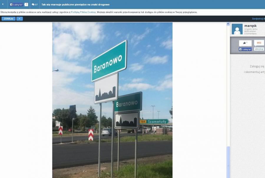 Podwójne znaki na DK 92/foto marqsk