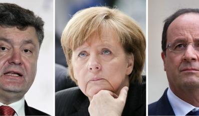 Petro Poroszenko, Angela Merkel i Francois Hollande