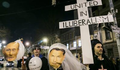 Protest przeciwko wizycie Putina na Węgrzech