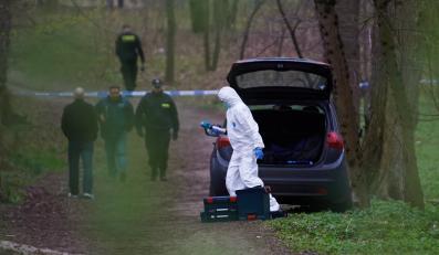 Policja pracuje na miejscu morderstwa pięcioletniej dziewczynki w parku nadmorskim w Gdańsku-Brzeźnie