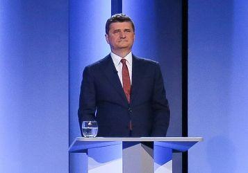 Janusz Palikot w czasie debaty prezydenckiej w TVP