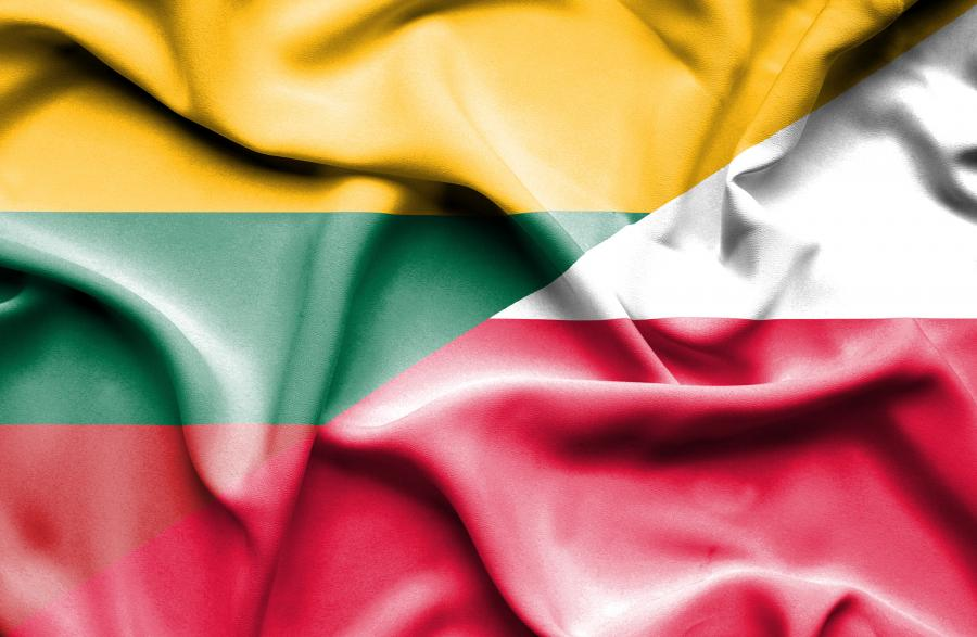 Połączone flagi Litwy i Polski