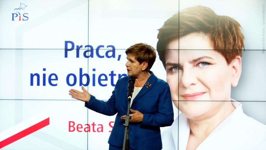 Beata Szydło prezentuje nowe hasło kampanii wyborczej PiS