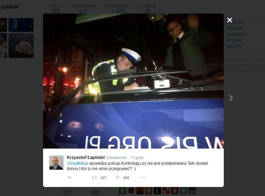 Szydłobus kontrolowany przez policję