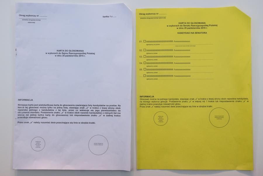 Wzory kart do głosowania w wyborach parlamentarnych