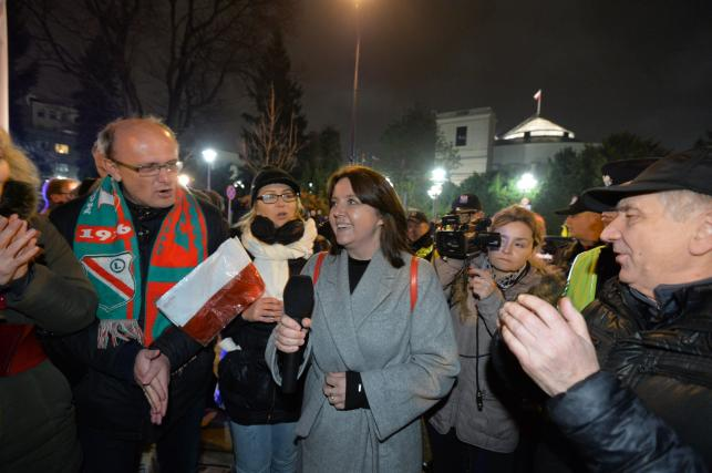 Joanna Lichocka na manifestacji