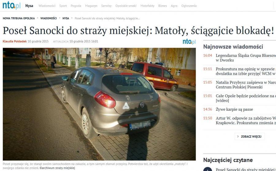 Poseł Sanocki do straży miejskiej: Matoły, ściągajcie blokadę! (źródło: www.nto.pl)