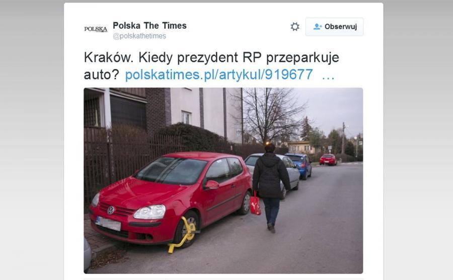 Kiedy prezydent Andrzej Duda przestawi auto? - zastanawia się \