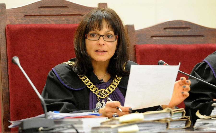 Sędzia Joanna Wieczorkiewicz-Kita na sali rozpraw w sądzie okręgowym w Szczecinie