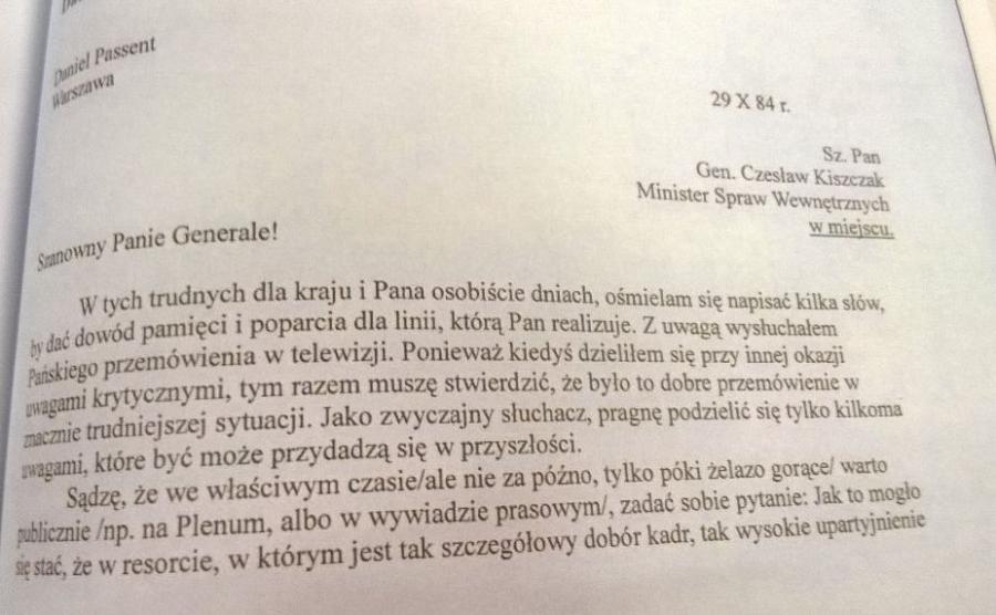 List Daniela Passenta do Czesława Kiszczaka