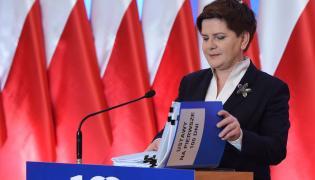 Premier Beata Szydło na konferencji podsumowującej 100 dni pracy rządu