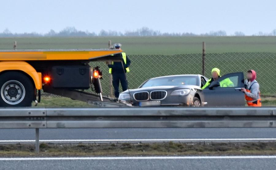 Miejsce wypadku prezydenckiego BMW