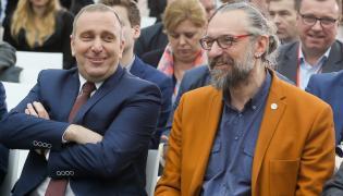 Przewodniczący PO Grzegorz Schetyna i lider KOD Mateusz Kijowski