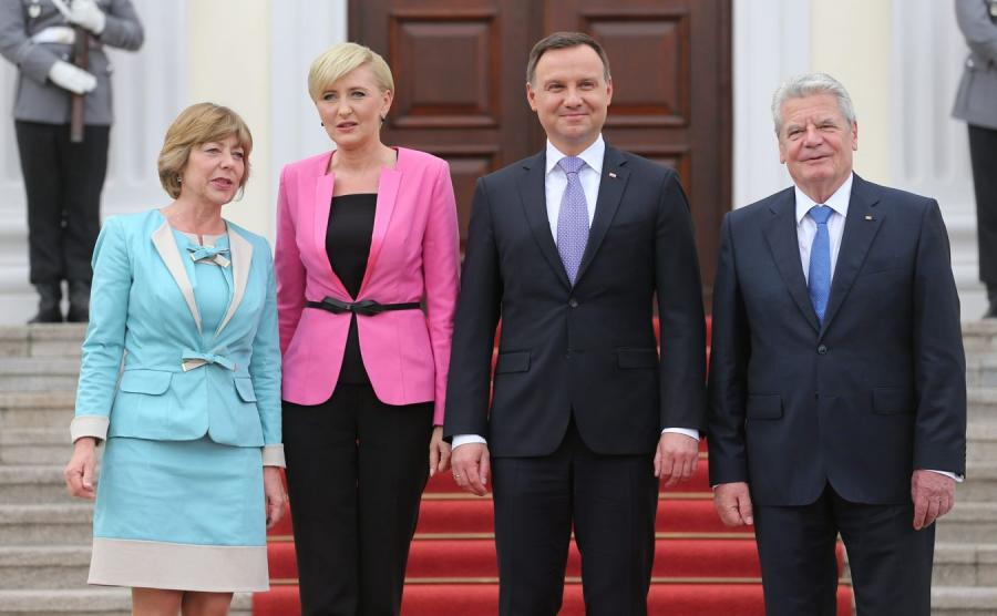 Andrzej Duda i Joachim Gauck z małżonkami