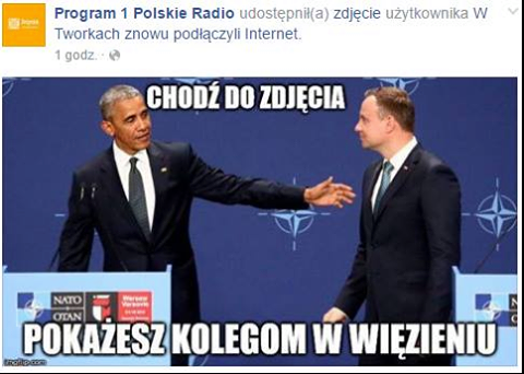 Prześmiewczy mem opublikowany przez Polskie Radio: Barack Obama i Andrzej Duda