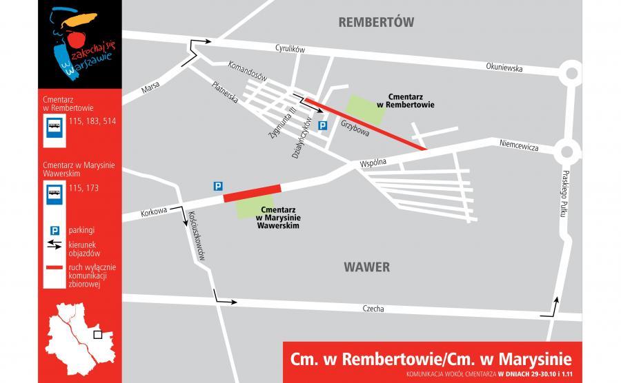 Cmentarz w Rembertowie i Marysinie - dojazd 29-30 października i 1 listopada 2016